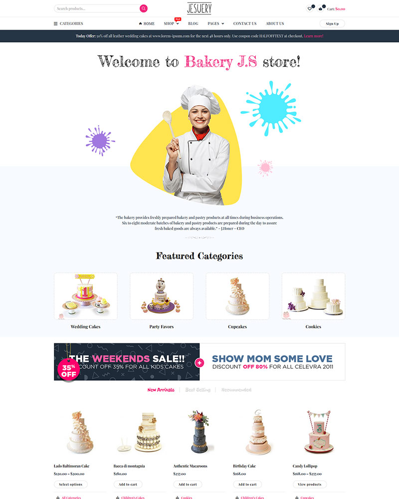 Jesuery - Free WordPress Bakery, Cakery & Food Theme